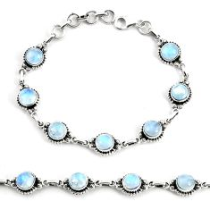 925 silver 19.97cts natural rainbow moonstone tennis bracelet jewelry p68120