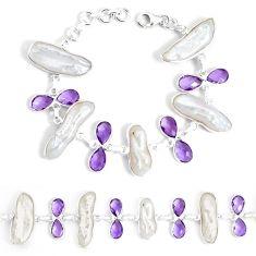 925 silver 47.29cts natural white biwa pearl amethyst tennis bracelet p34639