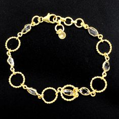 925 silver 9.10cts natural white herkimer diamond 14k gold bracelet p88528