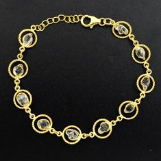 925 silver 11.23cts natural white herkimer diamond gold tennis bracelet p68588