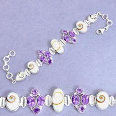 925 silver 40.63cts natural white shiva eye amethyst tennis bracelet p34557
