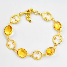 925 silver 29.22cts natural yellow citrine 14k gold tennis bracelet p87516