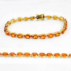 925 silver 23.51cts natural yellow citrine oval 14k gold tennis bracelet c3947
