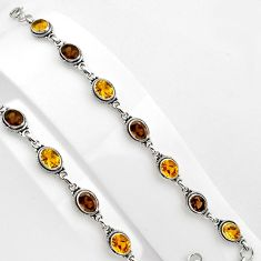 925 silver 15.91cts natural yellow citrine smoky topaz tennis bracelet p89071