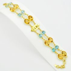 925 silver 41.96cts natural yellow citrine topaz 14k gold tennis bracelet p75095