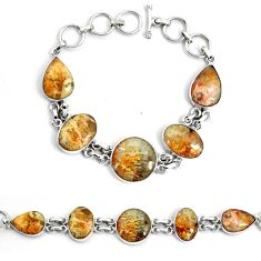 925 silver 46.22cts natural yellow plume agate tennis bracelet jewelry p46036