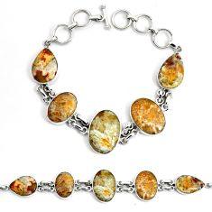 925 silver 47.08cts natural yellow plume agate tennis bracelet jewelry p46037