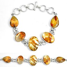 925 silver 49.89cts natural yellow plume agate tennis bracelet jewelry p46040