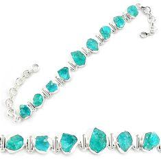 925 silver 41.98cts neon natural blue apatite rough fancy tennis bracelet p69075