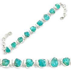 925 silver 45.14cts neon natural blue apatite rough fancy tennis bracelet p69079