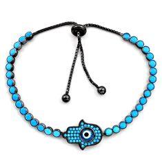 925 silver 6.53cts rhodium blue evil eye talismans adjustable bracelet c4904