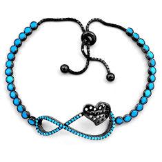 925 silver 6.78cts rhodium sleeping beauty turquoise adjustable bracelet c4917