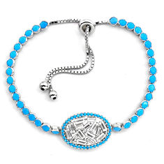 925 silver 10.44cts sleeping beauty turquoise topaz adjustable bracelet c4992