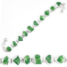 925 silver42.37cts natural green moldavite fancy tennis bracelet p34537