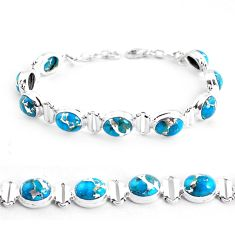 925 sterling silver 34.70cts blue copper turquoise oval tennis bracelet p48104