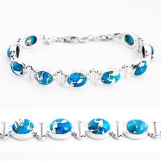 925 sterling silver 33.07cts blue copper turquoise oval tennis bracelet p48116