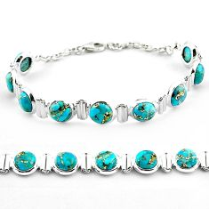925 sterling silver 26.35cts blue copper turquoise tennis bracelet p81443