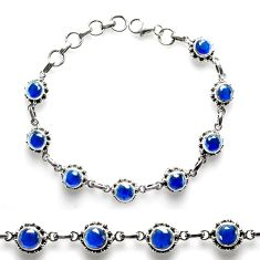 925 sterling silver 10.42cts blue sapphire (lab) tennis bracelet p68024