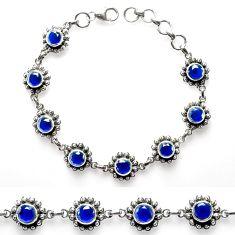925 sterling silver 10.96cts blue sapphire (lab) tennis bracelet p68028