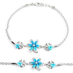 925 sterling silver 6.32cts blue topaz quartz white topaz round bracelet c3489