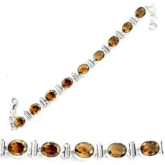 925 sterling silver 39.96cts brown smoky topaz oval tennis bracelet p70664