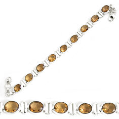 925 sterling silver 37.84cts brown smoky topaz tennis bracelet jewelry p64484