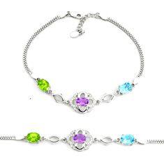 925 sterling silver 8.42cts fine green peridot amethyst tennis bracelet c2329
