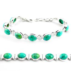 925 sterling silver 36.94cts fine green turquoise tennis bracelet jewelry p70708
