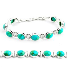 925 sterling silver 38.31cts fine green turquoise tennis bracelet jewelry p70716