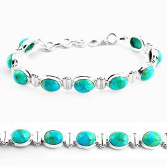 925 sterling silver 34.69cts fine green turquoise tennis bracelet p70704