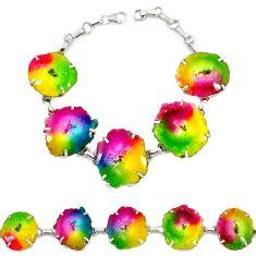 925 sterling silver multi color solar quartz slice druzy link bracelet h88038