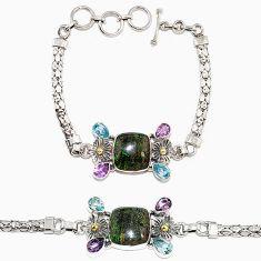 925 sterling silver natural black honduran matrix opal amethyst bracelet h90942