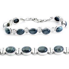 925 sterling silver 38.19cts natural black toad eye tennis bracelet p40037
