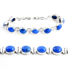 925 sterling silver 39.48cts natural blue dumortierite tennis bracelet p41012
