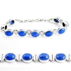 925 sterling silver 38.72cts natural blue dumortierite tennis bracelet p41016