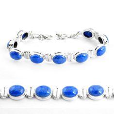 925 sterling silver 39.48cts natural blue dumortierite tennis bracelet p41020