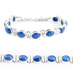925 sterling silver 35.22cts natural blue kyanite tennis bracelet jewelry p64434