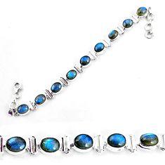 925 sterling silver 28.89cts natural blue labradorite tennis bracelet p65066