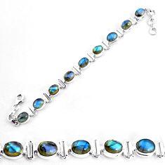 925 sterling silver 29.84cts natural blue labradorite tennis bracelet p65077