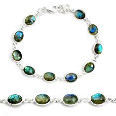925 sterling silver 24.56cts natural blue labradorite tennis bracelet p72950