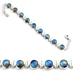 925 sterling silver 29.81cts natural blue labradorite tennis bracelet p81436
