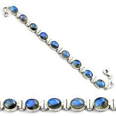 925 sterling silver 39.48cts natural blue labradorite tennis bracelet p81439