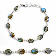 925 sterling silver 25.83cts natural blue labradorite tennis bracelet p87756