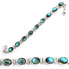 925 sterling silver 37.39cts natural blue labradorite tennis bracelet p87792