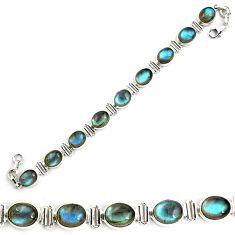 925 sterling silver 39.91cts natural blue labradorite tennis bracelet p87799