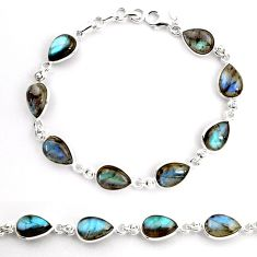 925 sterling silver 32.70cts natural blue labradorite tennis bracelet p92935