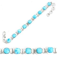 925 sterling silver 30.22cts natural blue larimar tennis bracelet jewelry p34524