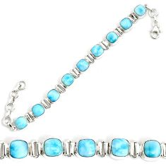 925 sterling silver 28.62cts natural blue larimar tennis bracelet jewelry p34530