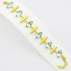 925 sterling silver 22.82cts natural blue topaz 14k gold tennis bracelet p75064