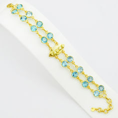 925 sterling silver 20.30cts natural blue topaz 14k gold tennis bracelet p75087